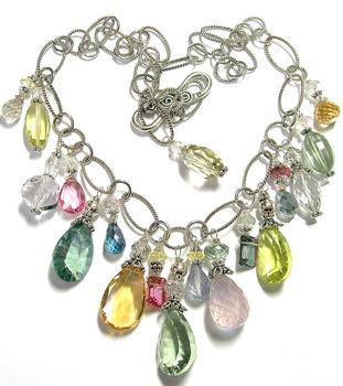 Design 5639: white multi-stone necklaces