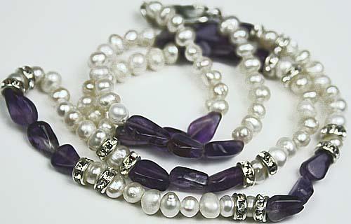 Design 569: purple,white pearl contemporary, simple-strand necklaces