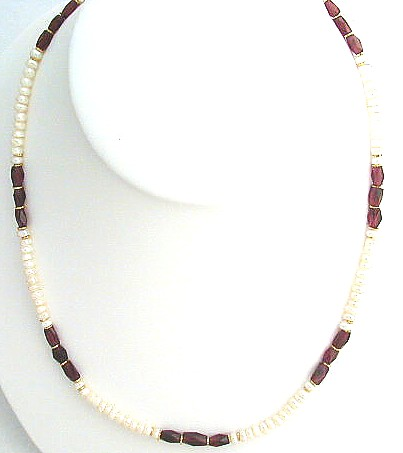 Design 570: red,white garnet simple-strand necklaces