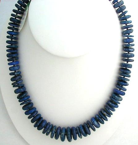Design 572: blue lapis lazuli simple-strand necklaces