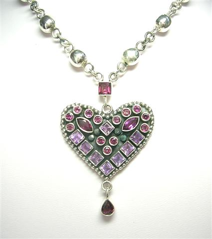 Design 5867: purple,red rhodolite heart necklaces