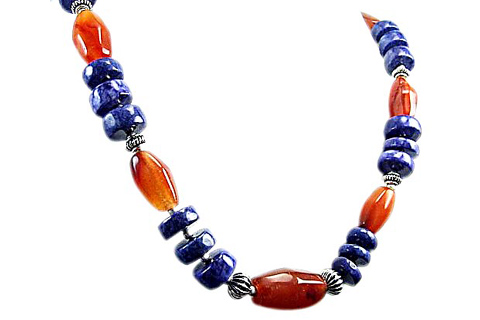Design 59: blue,orange carnelian chunky necklaces
