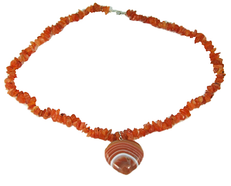 Design 5913: orange carnelian chipped necklaces