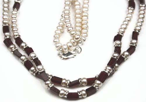 Design 598: red garnet multistrand necklaces