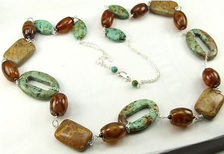 Design 5984: brown,green,multi-color jasper chunky, contemporary, donut necklaces