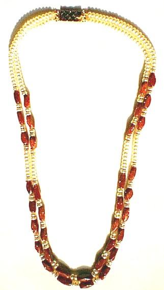 Design 600: orange,white goldstone necklaces