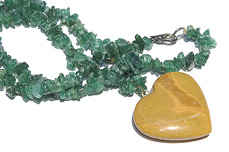 Design 6002: brown,green aventurine chipped, heart necklaces