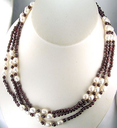 Design 6057: red,white pearl multistrand necklaces