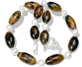 Design 6299: brown,white tiger eye necklaces