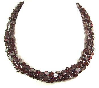 Design 6303: red garnet necklaces