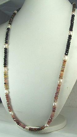 Design 6466: black,brown,multi-color tourmaline simple-strand necklaces