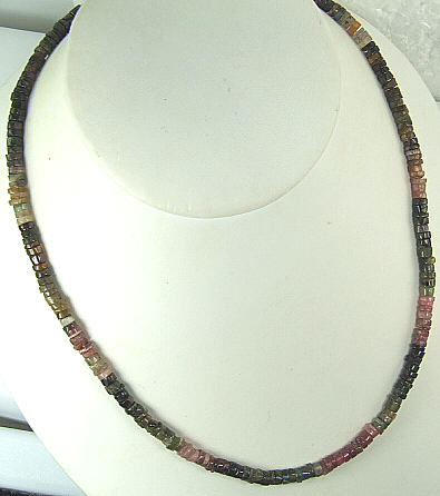 Design 6468: green,pink,multi-color tourmaline simple-strand necklaces