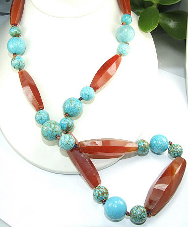 Design 6485: blue,orange carnelian american-southwest necklaces