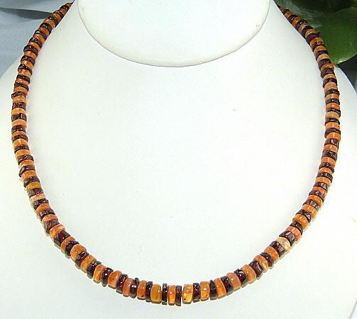 Design 6492: orange,red multi-stone halloween, mens necklaces