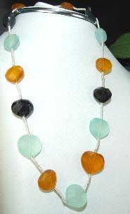Design 6829: multi-color multi-stone heart necklaces