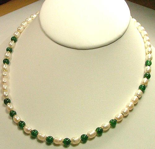 Design 683: green,white aventurine necklaces