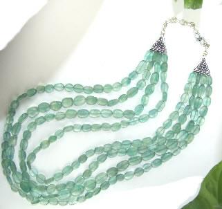 Design 6843: green fluorite multistrand necklaces
