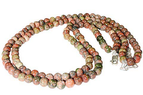 Design 704: brown,red unakite multistrand necklaces