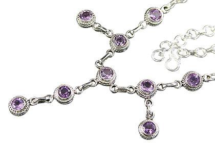 Design 7097: purple amethyst drop necklaces