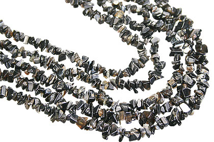 Design 7177: black onyx chipped necklaces
