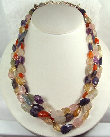 Design 7195: multi multi-stone necklaces