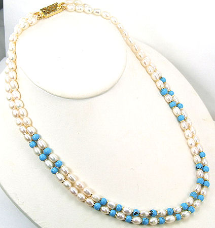 Design 7201: blue,white,multi-color pearl multistrand necklaces