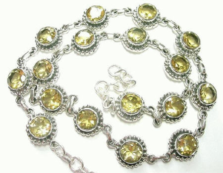 Design 7305: yellow citrine wedding necklaces