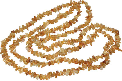 Design 7363: yellow citrine chipped necklaces