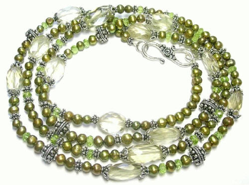 Design 7385: green,yellow lemon quartz necklaces