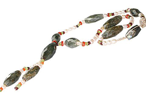 Design 7403: green,white,yellow labradorite necklaces