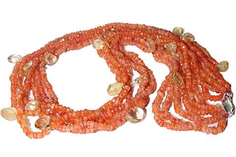 Design 7417: multi-color multi-stone drop necklaces