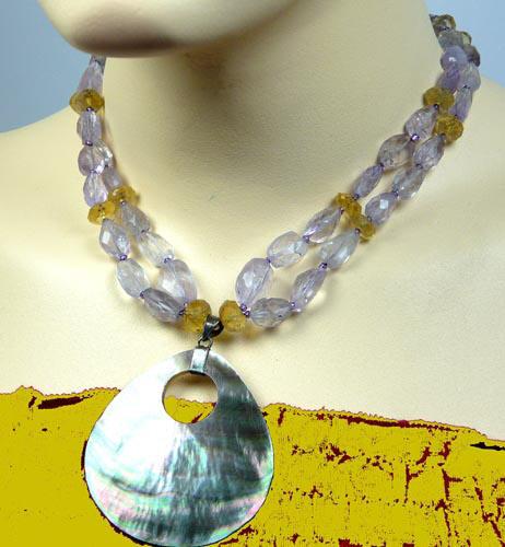 Design 7420: multi-color multi-stone necklaces