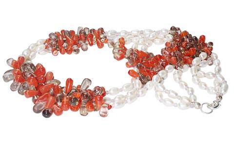 Design 7422: gray,orange,white carnelian multistrand necklaces