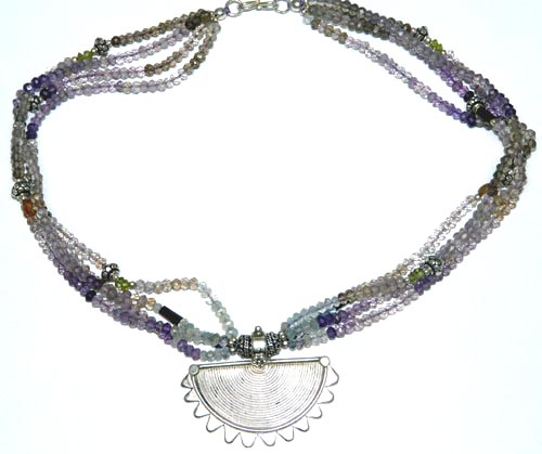 Design 7430: green,purple,white amethyst medallion necklaces