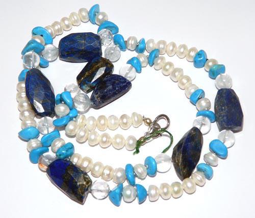 Design 7444: White, Blue lapis lazuli tribal, tumbled necklaces