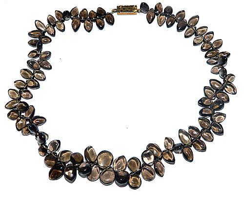 Design 7454: brown smoky quartz drop necklaces