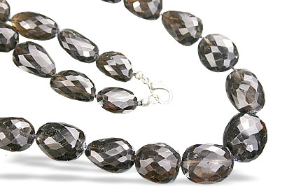 Design 7469: brown smoky quartz tumbled necklaces