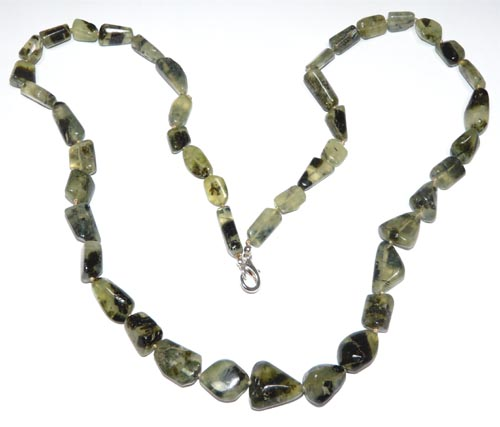 Design 7473: green prehnite necklaces