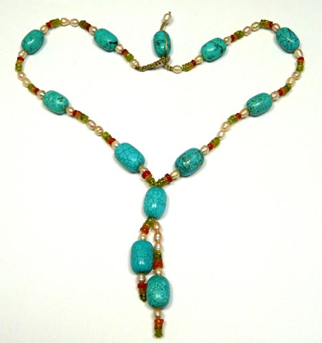 Design 7474: blue,green,white turquoise necklaces
