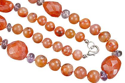Design 7476: orange,purple carnelian halloween necklaces