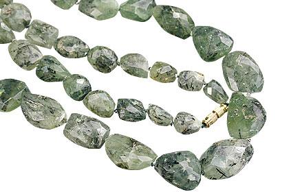 Design 7477: green prehnite tumbled necklaces