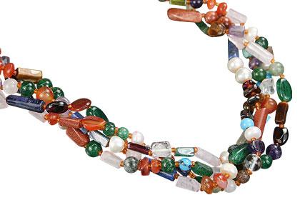 Design 7485: multi-color multi-stone ethnic necklaces