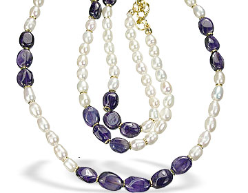 Design 7490: purple,white pearl necklaces