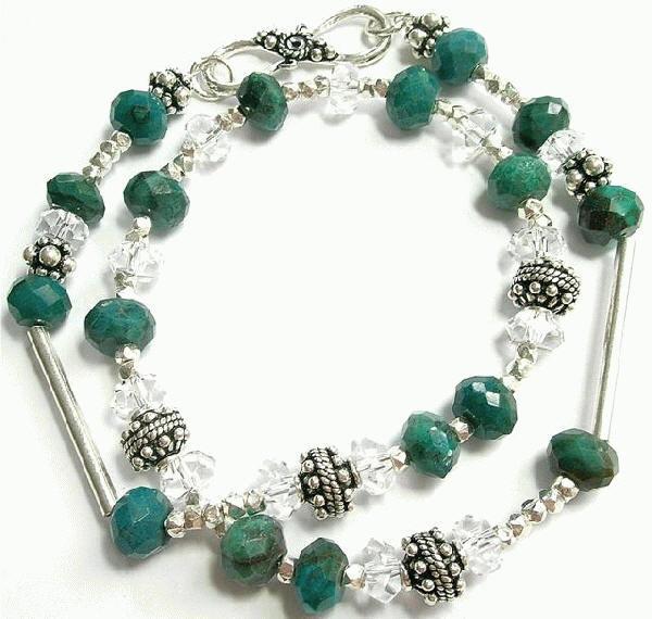 Design 7538: blue,green chrysoprase necklaces