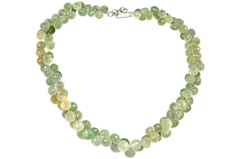 Design 7561: green prehnite necklaces
