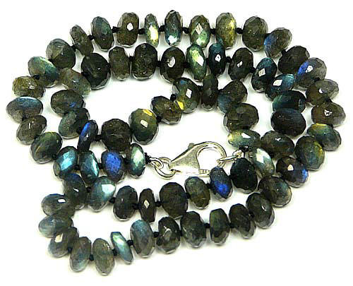 Design 7569: Grey, Green labradorite necklaces