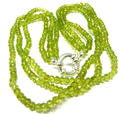 Design 7575: Green peridot multistrand necklaces