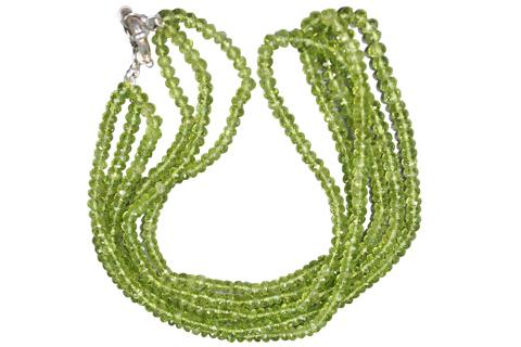 Design 7577: Green peridot multistrand necklaces