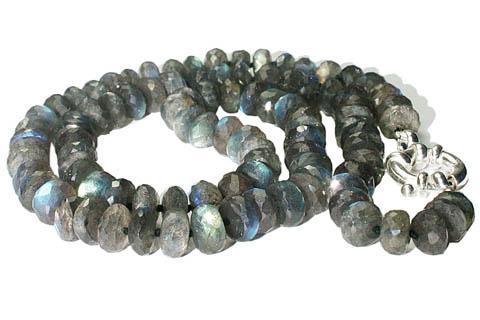 Design 7580: Grey, Green labradorite necklaces