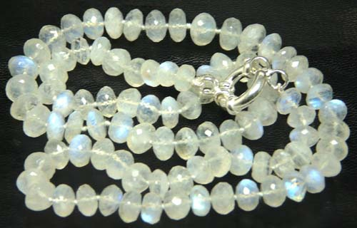 Design 7584: White quartz simple-strand necklaces